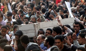 Another scene from the funeral of Gaber Salah, who was killed in clashes with police, during his funeral at the Omar Makram mosque, in Cairo.