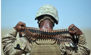 US Marine with ammunition belt
