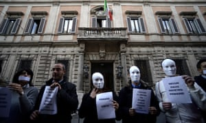 Members of Silvio Berlusconi's People of Freedom party (PDL) demonstrate in front of Berlusconi's office asking for a primary election.