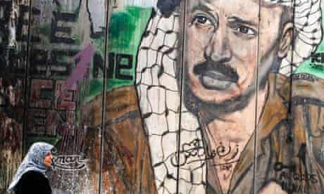 A Palestinian mural of Yasser Arafat