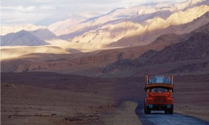 Deserted India road with lorry