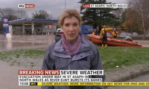 A Sky News screengrab of flooding in St Asaph, north Wales, on 27 November 2012.