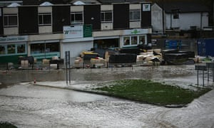 Floodwater covers the streets of St Asaph in North Wales on 27 November 2012.