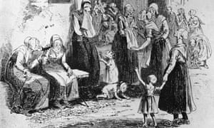 Elderly women chatting in the yard of a workhouse, circa 1840
