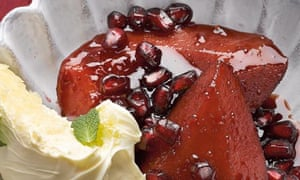 Quince poached in pomegranate juice