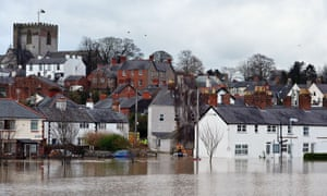 The city of St Asaph is pictured surrounded by flood waters on 27 November 2012.