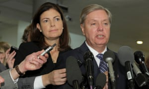 Senate armed services committee members, Kelly Ayotte and Lindsey Graham, speak to reporters after meeting UN ambassador Susan Rice on Capitol Hill.