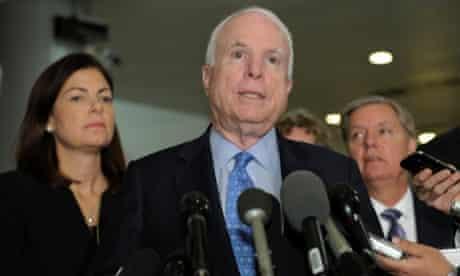 Senators John McCain, Kelly Ayotte and Lindsey Graham after meeting UN ambassador Susan Rice on Capitol Hill.