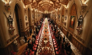 Imagine the washing up. Guests attend a State Banquet hosted by the Queen at Windsor Castle last night to honour the Emir of Kuwait Sheikh Sabah al-Ahmad al-Jaber al-Sabah's State Visit to Britain.