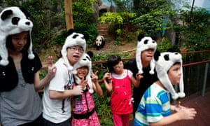 Children wearing giant panda hats visit four-year-old female panda Jia Jia during the grand opening of the Giant Panda Forest at the Singapore Zoo