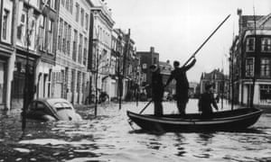 Flooded streets in Dordrecht, Holland, in 1953, after the worst flooding there for 400 years.