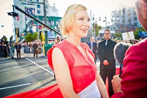The Hobbit premiere: Cate Blanchett talks to a TV crew on the red carpet