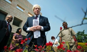 Boris Johnson continues his tour of India as he stands with Deepak Chandra, the Deputy Dean of the Indian School of Business at the campus in Hyderabad.