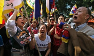 Exiled Tibetans shout slogans during a protest rally to express solidarity with Tibetans who have self-immolated and to appeal for immediate international intervention in New Delhi, India. At least 86 people have set themselves on fire since the immolations began in 2009.