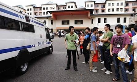 Chinese bus drivers on strike, Singapore