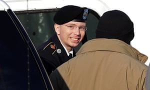 Bradley Manning steps out of a security vehicle as he is escorted into a courthouse for a pre-trial hearing in Fort Meade, Maryland. Manning is charged with aiding the enemy by causing hundreds of thousands of classified documents to be published on the secret-sharing website WikiLeaks.