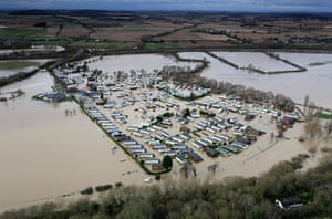 Floods clear-up: A flooded caravan park at Abbots Salford