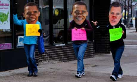 Three Obama supporters walk around the s