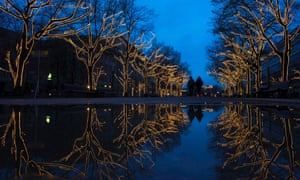 It could be a Christmas card. Trees decorated with Christmas lights are reflected in a puddle as people walk along the Unter den Linden promenade in Berlin.