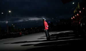 An Albanian honour guard stands during a military parade on the main boulevard in Tirana marking the 100th anniversary of independence from the Ottoman Empire.
