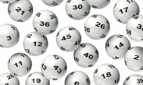 Falling Lottery Balls on White Background
