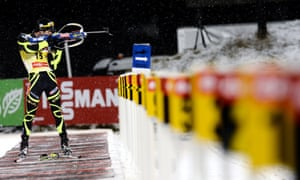 France's Martin Fourcade competes during the Biathlon World Cup in Ostersund, Sweden.