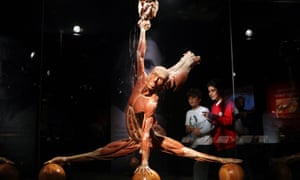 Kids admire a plastinated human body at the 'Body Worlds: A Journey To The Heart' exhibition by German anatomist Gunther von Hagens in Santo Domingo, Dominican Republic.