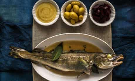 Danish New Year's cod with beetroot, potatoes and mustard sauce