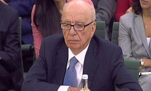 Rupert Murdoch giving evidence to the Culture, Media and Sport select committee on the News of the World phone-hacking scandal.