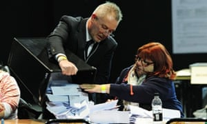 Counting of the votes in the Rotherham by-election takes place at the Magna Science Centre.
