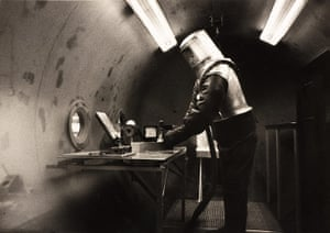 Space: An early prototype of a space suit being tested