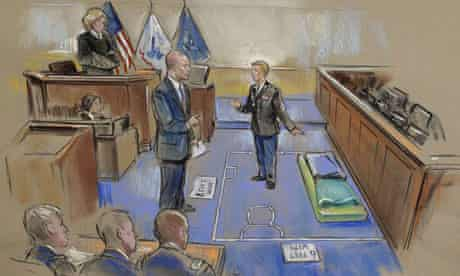 In a courtroom sketch, Bradley Manning explains his Qauntico marine brig cell