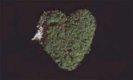 the heart-shaped Petre island seen from above
