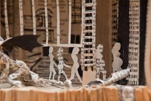 Book sculpture: A detail from Alasdair Gray's Lanark