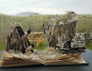 Book sculptures in situ: Compton Mackenzie's story Whisky Galore at Am Politician Lounge Bar