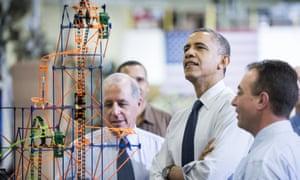 Barack Obama and K'Nex roller coaster