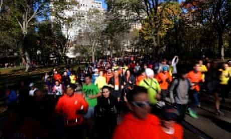 Marathon runners in Central Park