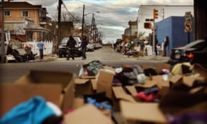 Boxes of donated in the Rockaway section of Queens