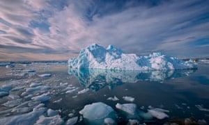 Icebergs and Ice Bits Near Kangilerngata Sermia Glacier, Disko Bugt (Disko Bay), West Greenland