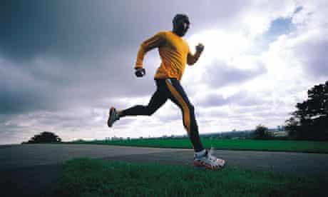 A man running through a park