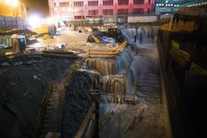 Water streaming into ground zero tweeted by @passantino