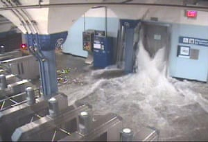 Water rushing into Hoboken Path station