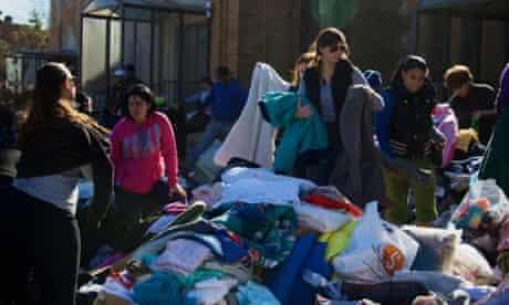 Volunteers sort clothes outside a church in Rockaway, Queens.
