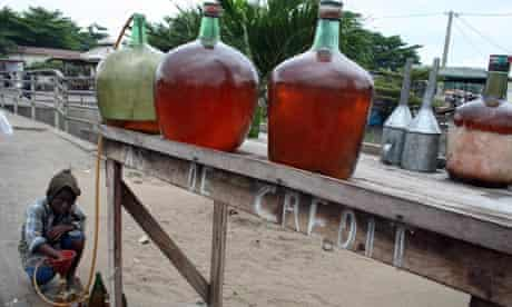 Smuggled fuel on street in Benin's capital, Cotonou