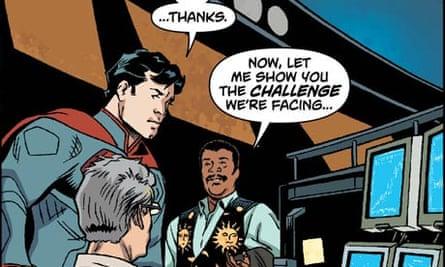 Neil deGrasse Tyson and Superman comic panel