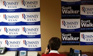 A woman makes phone calls on behalf of the Republican party at a Romney/Ryan office as volunteers get in their last efforts the day before election day in Wauwatosa November 5, 2012. After a long, bitter and expensive campaign, national polls show U.S. President Barack Obama and Republican challenger Mitt Romney are essentially deadlocked ahead of Tuesday's election, although Obama has a slight advantage in the eight or nine battleground states that will decide the winner.Obama has a somewhat easier path to 270 electoral votes than Romney, fueled primarily by a small but steady lead in the vital battleground of Ohio - a crucial piece of any winning scenario for either candidate - and slight leads in Wisconsin, Iowa and Nevada.  REUTERS/Darren Hauck (UNITED STATES - Tags: POLITICS ELECTIONS USA PRESIDENTIAL ELECTION) :rel:d:bm:GF2E8B51HYT02