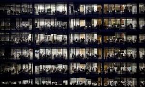 office workers building dark