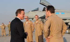 David Cameron at the Al Minhad airbase in Dubai on Monday where British Typhoon jets of 99 Squadron are stationed.