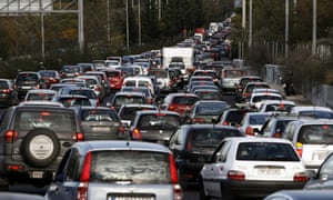 Queues of vehicles jam Athens' ring road as public bus workers in the capital joined taxi drivers, metro, tram and train workers in the 48-hour strike, paralysing traffic, on November 6, 2012.