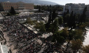 Protesters from the communist-affiliated trade union PAME march outside the parliament during a rally in central Athens November 6, 2012.